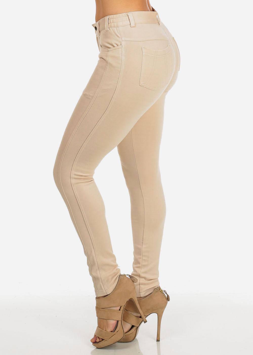 khaki pants for women womens juniors khaki low rise solid skinny moleton pants 10624v KCLSRSU