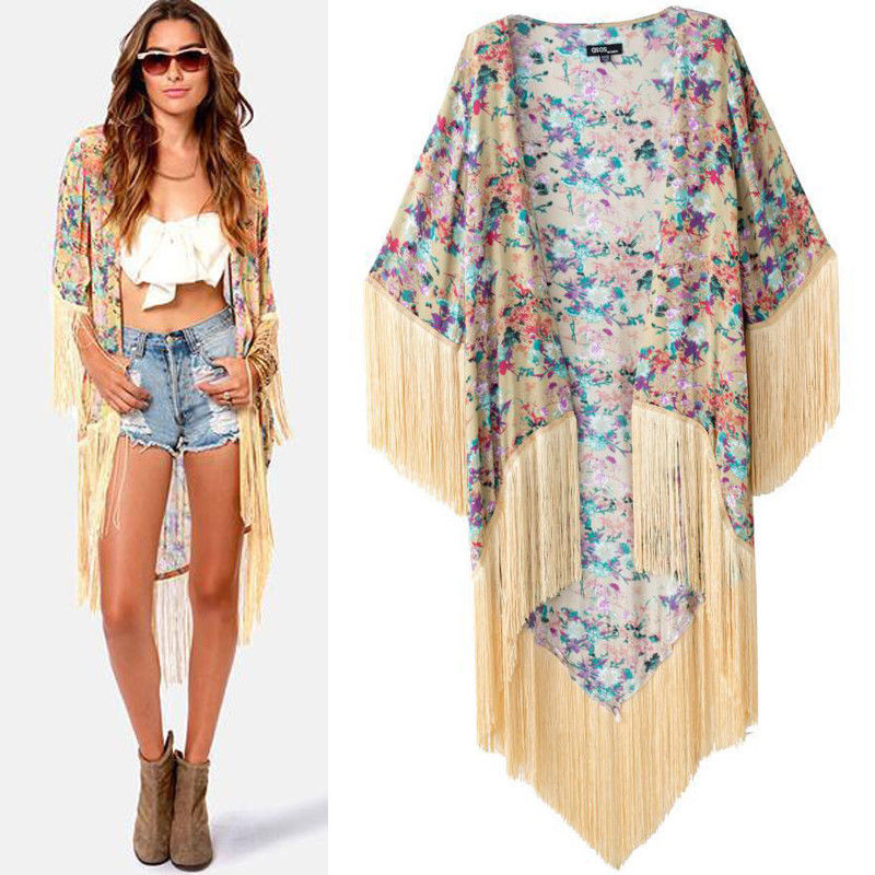 kimono cardigan aliexpress.com : buy luxury womenu0027s loose blazer floral fringe kimono  cardigan blouse jacket tops VMXJNZA