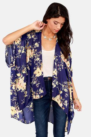 kimono cardigan blue floral print kimono jacket. this would look great with faux leather  skinny pants NICPDNE