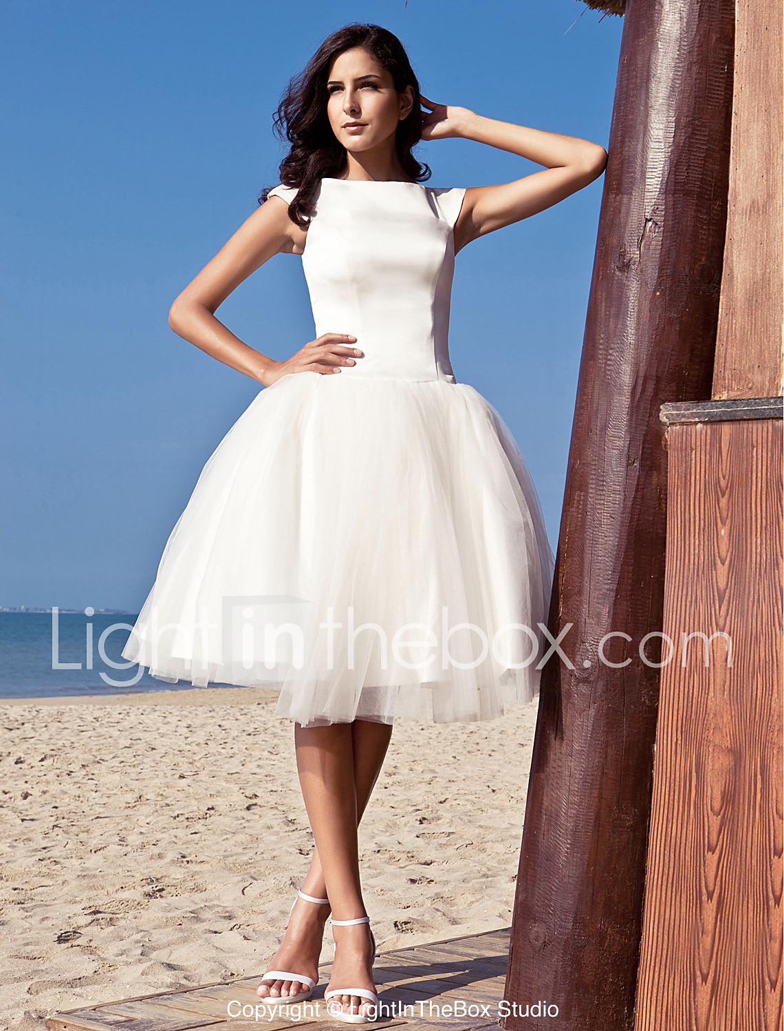 knee length wedding dresses princess bateau neck knee length satin tulle wedding dress with draped by  lan ting KTFLMIQ