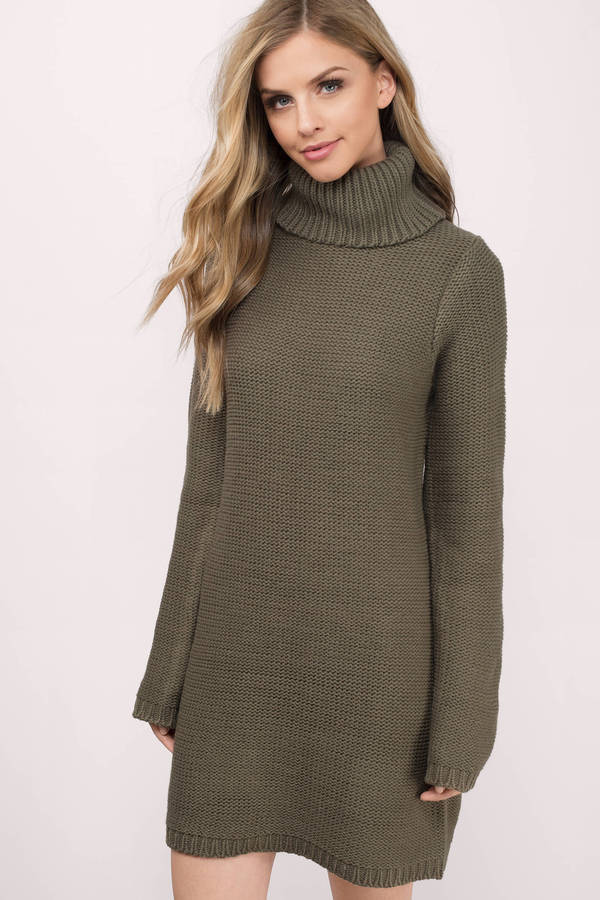 knit dress cute grey dress - turtleneck dress - army grey sweater - day dress - $17.00 DVGTHXX