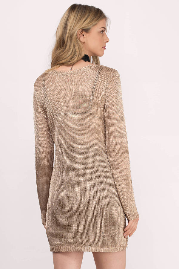 knit dress ... somedays lovin somedays lovin star searching champagne sheer metallic knit  dress ... FCTCORT