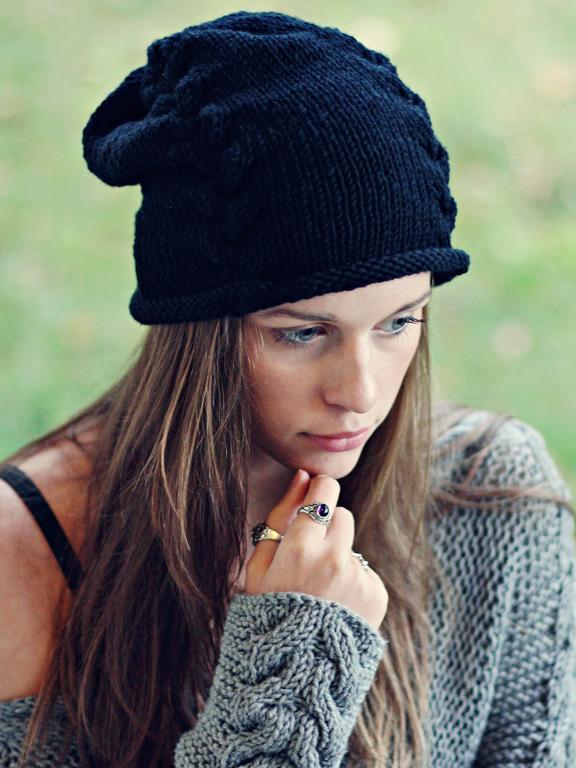 knit hat black beanie free knitting pattern YTMMVHS