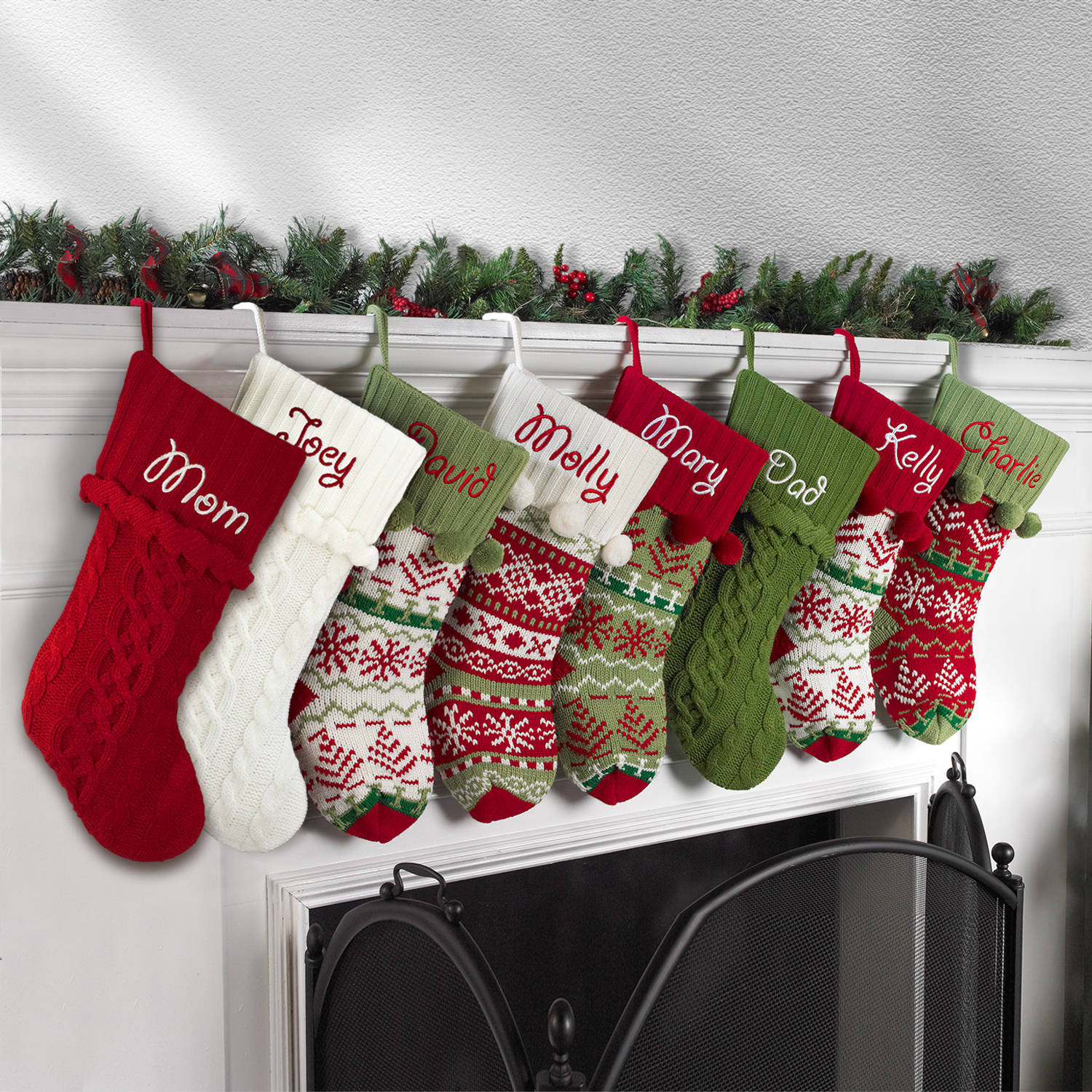 knitted christmas stockings personalized snowflake knit christmas stocking, available in 11 designs -  walmart.com WKXCQTI
