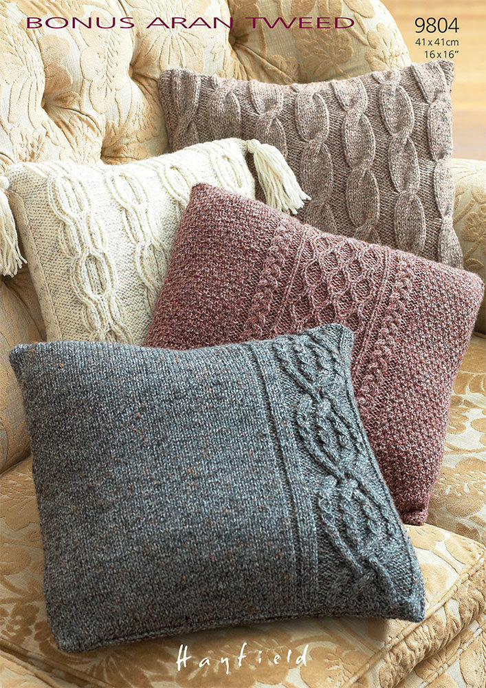 knitted cushion covers cushion covers in hayfield bonus aran tweed - 9804 MGHFJJD