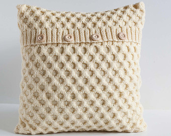 knitted cushion covers white hand knitted cushion waffle pattern pillow cover with wool 0192 LFMWEVT