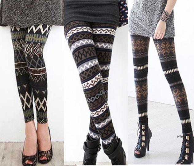 Knitted Leggings winter nordic fairisle pattern stripe snowflake thermal knit knitted  leggings   ebay IXSPAHC