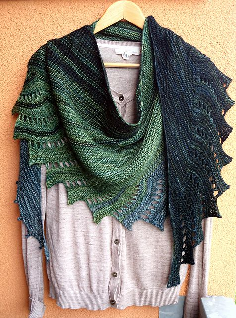 knitted shawl this version, common welsh green dragon by ranmoray, is knit in malabrigo  arroyo in SQVZLZR