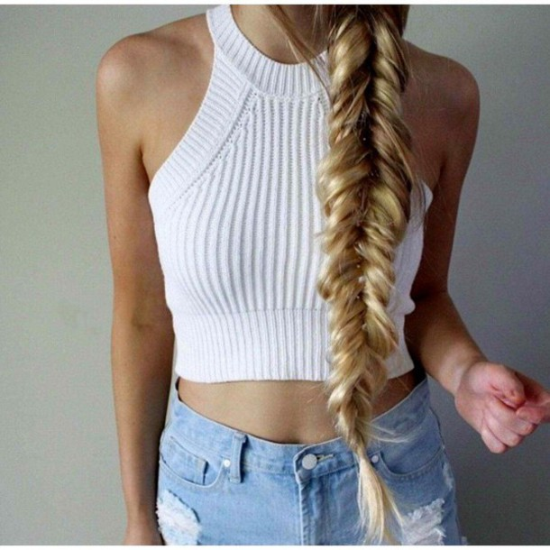knitted tank top blouse white sexy white top white tank top knitted crop top crop tops crop CLDDCVY
