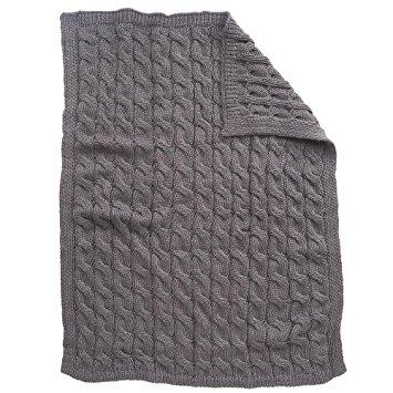 koala baby chunky cable knit blanket - gray GRUGQMV