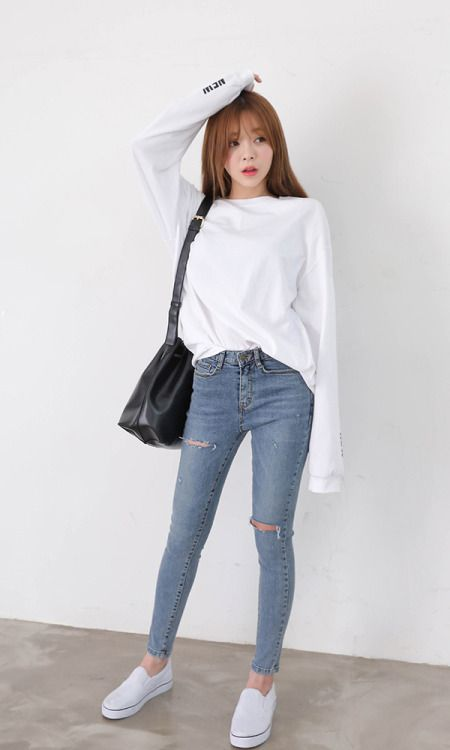 korean fashion new tastes tee and skinny jeans · korea fashionk ... MSKUSAG