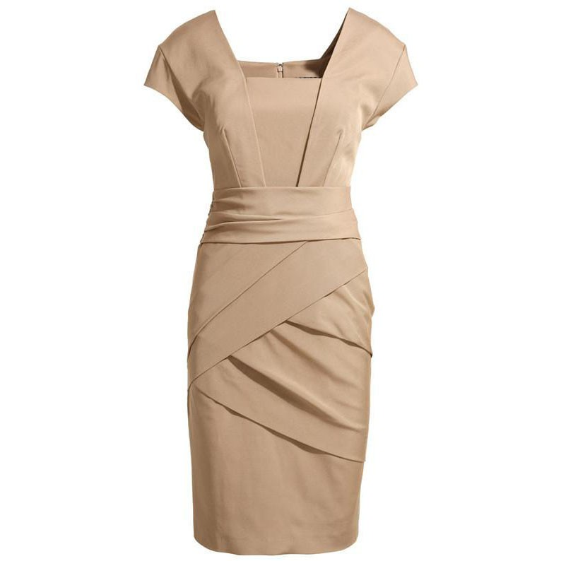 ktxl kate middleton satin cap sleeve knee length ruched pencil dress RNVHVYT