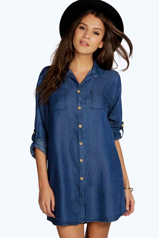 The stylish Women's Denim Shirt dress