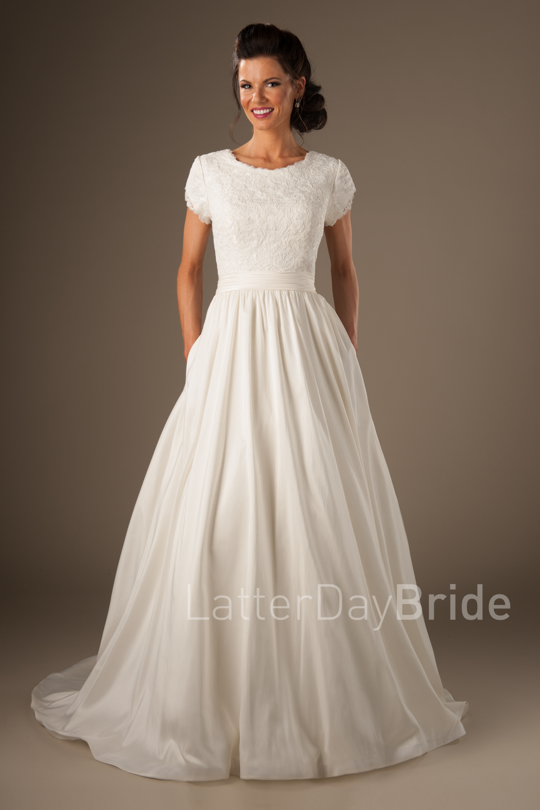 latterdaybrideu0027s joleen gown, modest wedding dresses with lace and ballgown  skirt OFKTLNY
