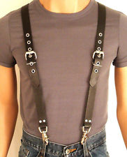 leather suspenders braces black cowhide leather biker hand crafted u.s. 5  sizes HPFNWEB
