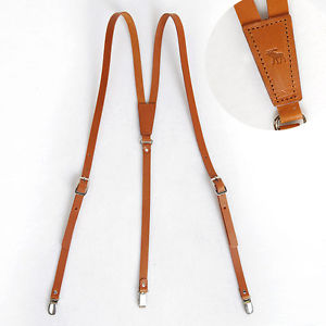 leather suspenders image is loading genuine-leather-suspenders-y-back-retro-braces-clip- QCARZWM