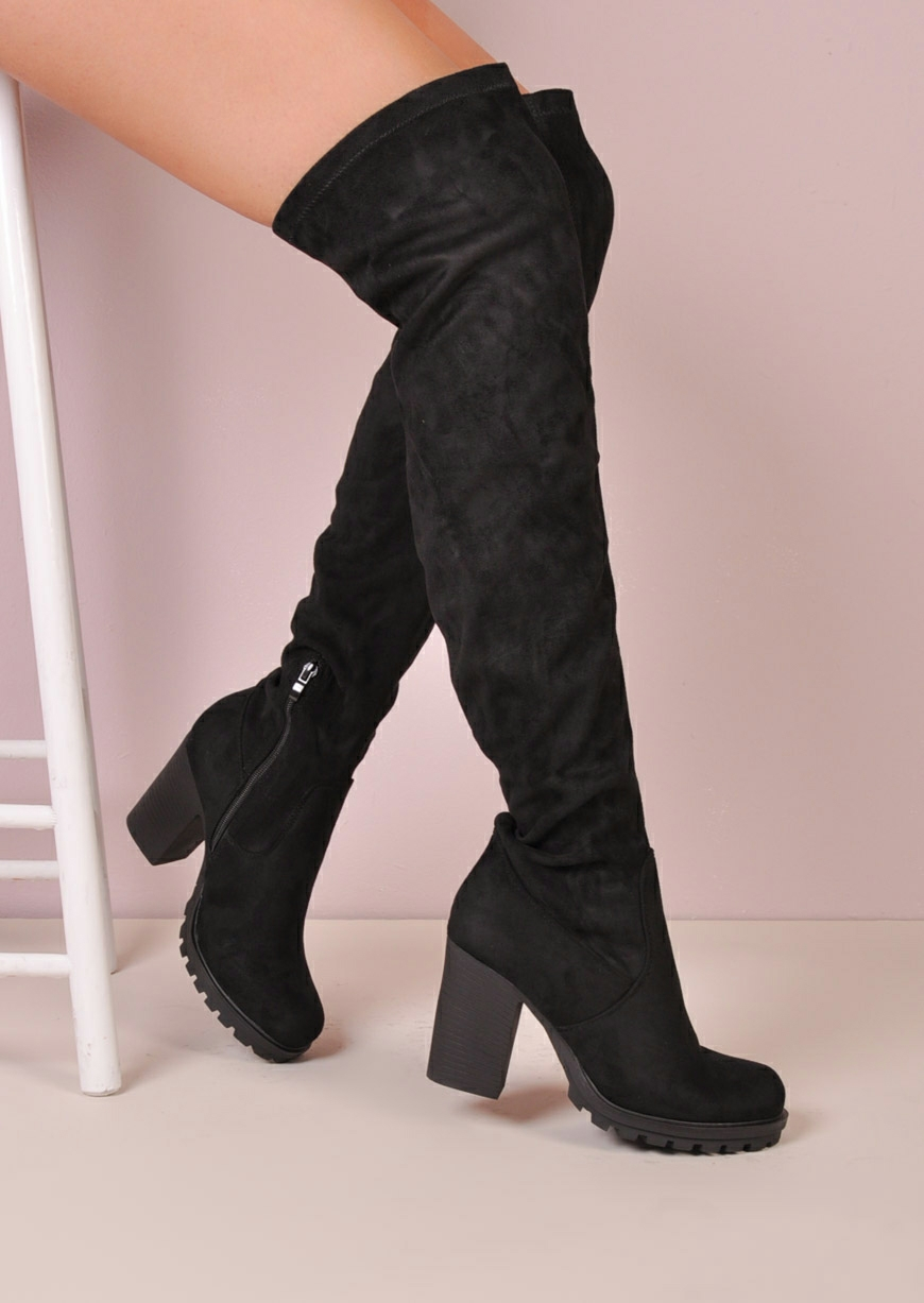 long boots over the knee high faux suede cleated sole platform boots black AVXAKHN