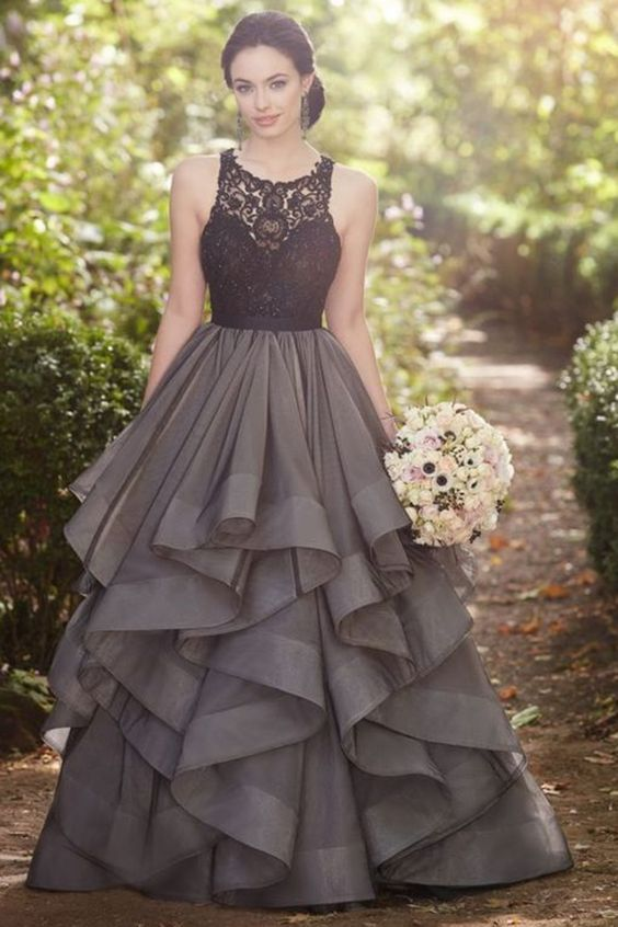long dresses sexy long prom dresses,beautiful grey lace organza prom dress,ball gown  formal dress ZBZAKZP