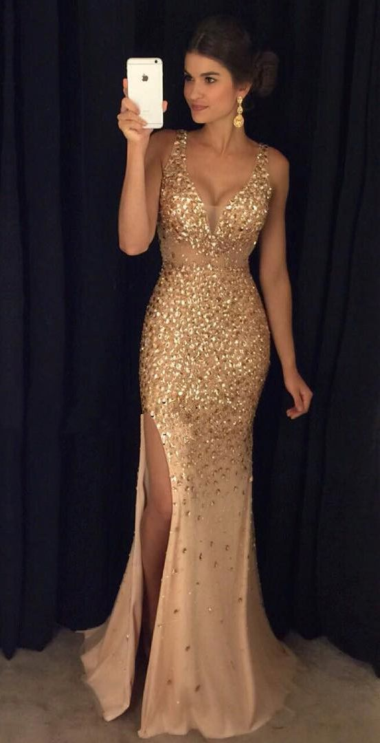 long evening dresses gold crystals mermaid prom dresses,deep v neck slit prom dresses,off the  shoulder long evening JODVGEW