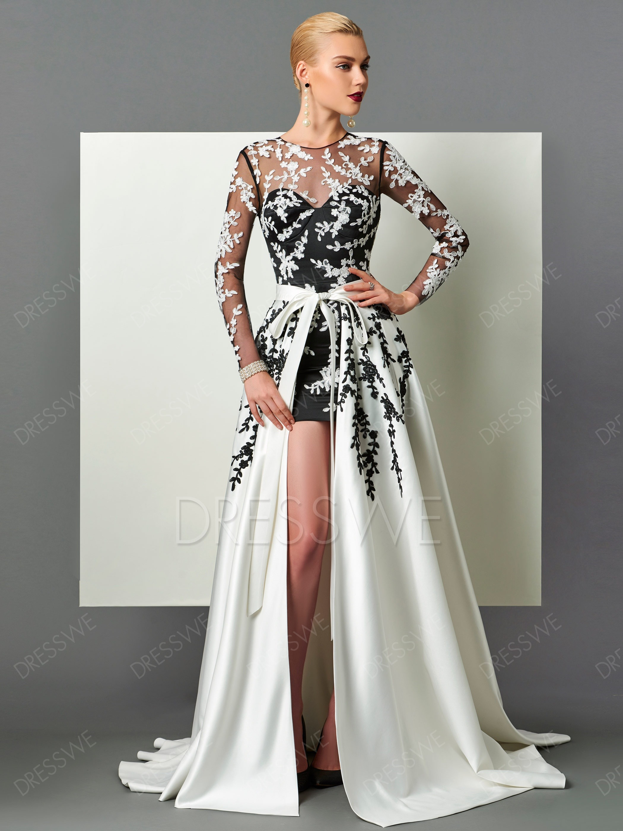 long evening dresses picture: dresswe.com supplies designer long sleeve applique detachable  train long evening dress evening dresses PORGTXV