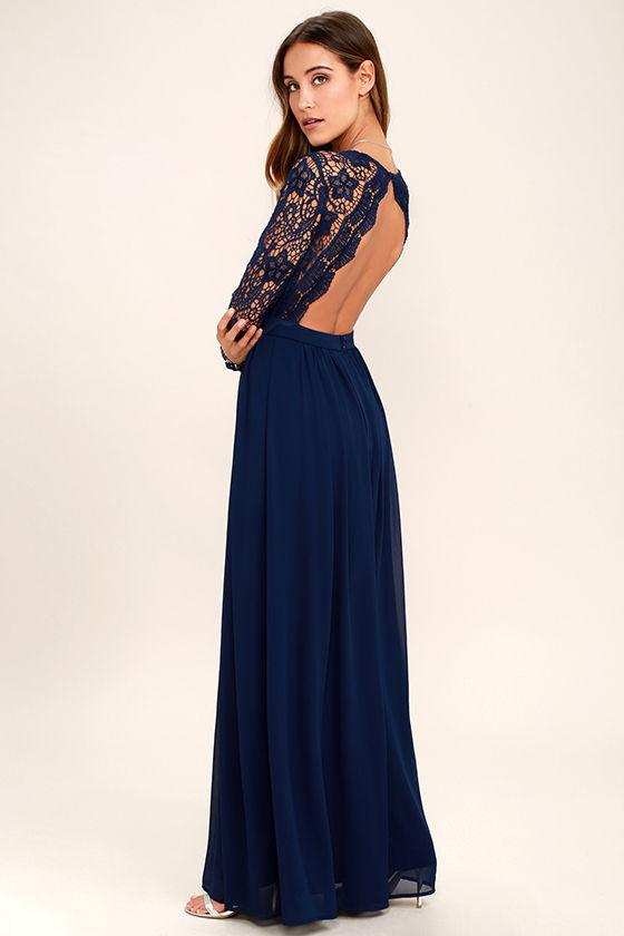long lace dress awaken my love navy blue long sleeve lace maxi dress 1 WYAEMNW