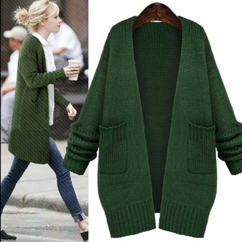 long sweaters dark green long knitted sweaters fashion loose long sleeve pockets long  knitted cardigans women LTBWZCZ
