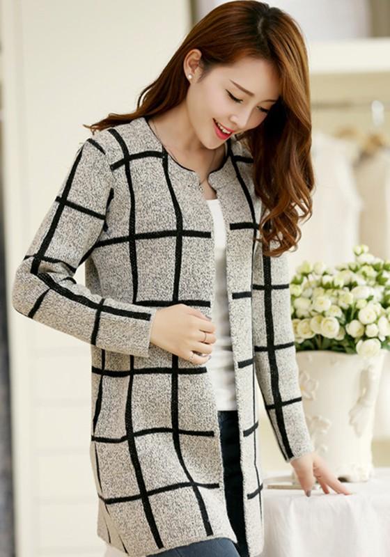 long sweaters grey plaid print long sleeve cardigan JQPLMDW