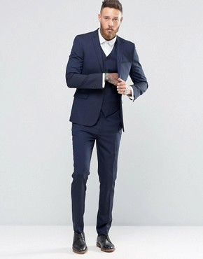 mens suits asos skinny navy suit TGXWMSG
