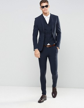 mens suits asos super skinny fit suit in navy TOPNOIK