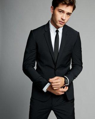 mens suits ... skinny innovator black performance stretch wool blend suit jacket XVTJMHI