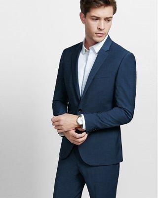 mens suits ... skinny innovator navy blue performance stretch wool blend suit jacket JUJALRC