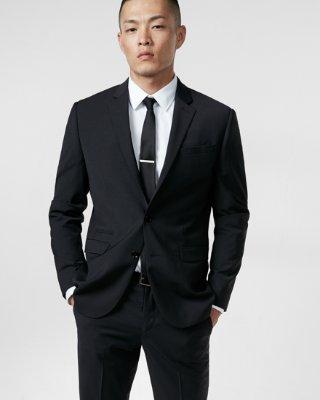 mens suits ... slim fit photographer black wool blend performance stretch suit jacket CTHKOCP