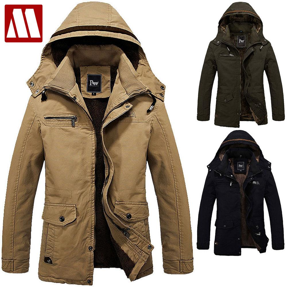 mens winter coats 2017 wintet casual mens fur winter coats army green outwear military man  thick cotton SXTERKO