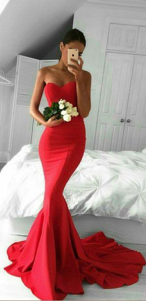 mermaid red prom dress,long prom dresses,charming prom dresses,evening dress , LDHZVZM