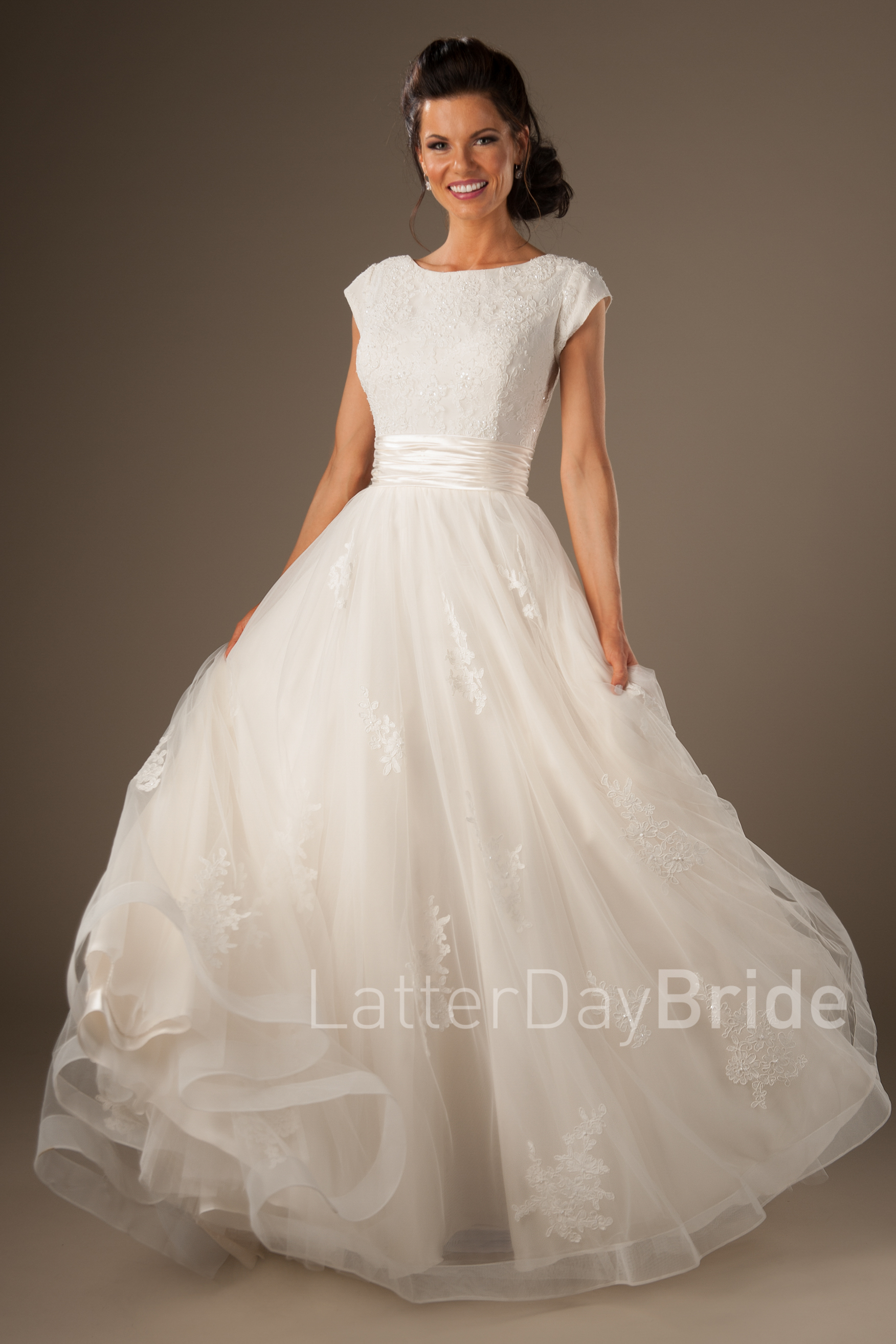 modest wedding dresses modest wedding gowns, the lorelai with bateau neckline and tulle skirt at  latterdaybride NUWDURN