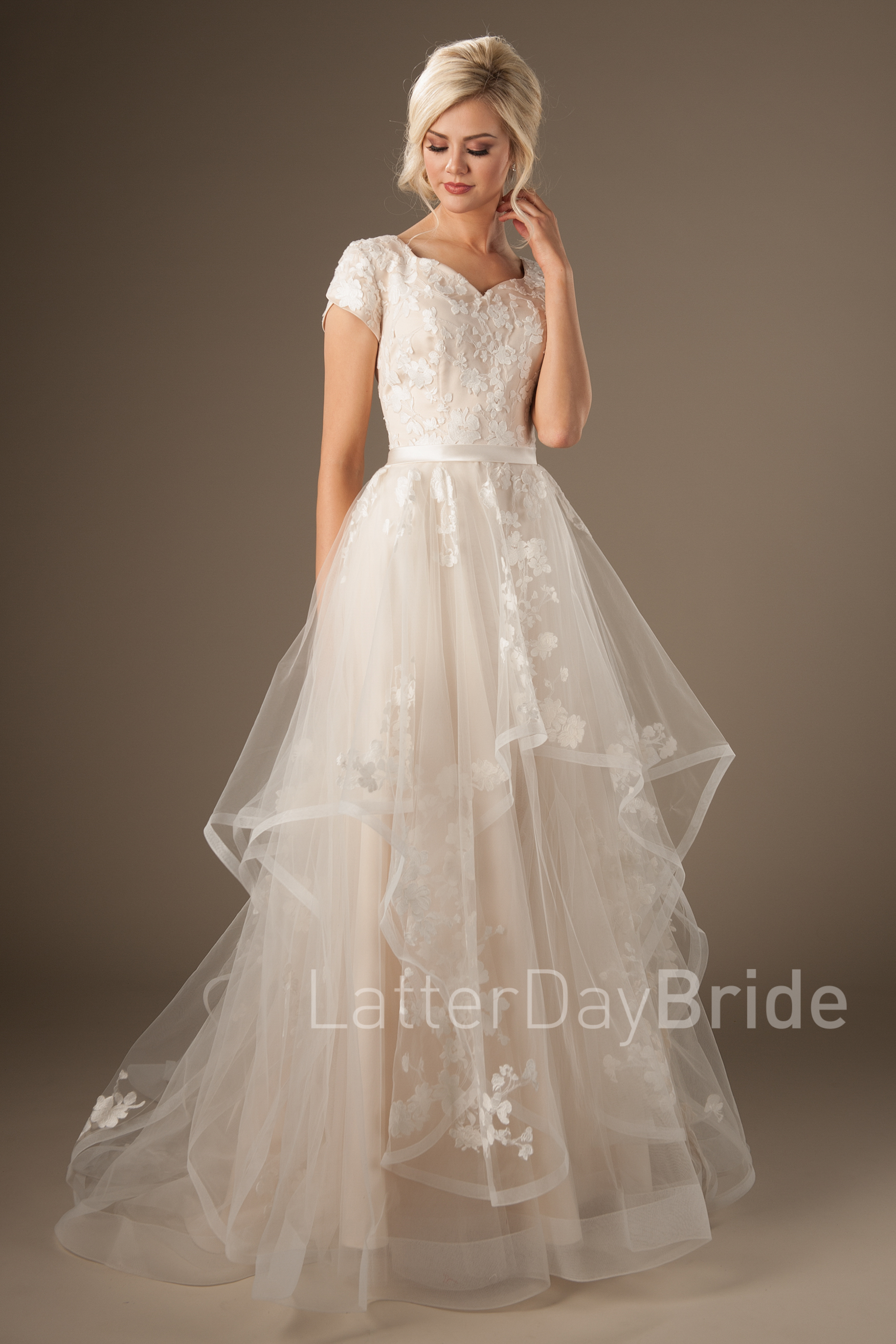 modest wedding dresses with layered horsehair skirt and floral lace, the  claralise at latterdaybride TZLSHLL