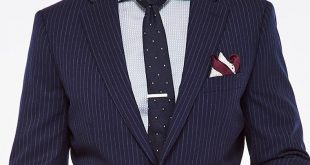 navy brushed pinstripe suit 1 ... RZUXFZY