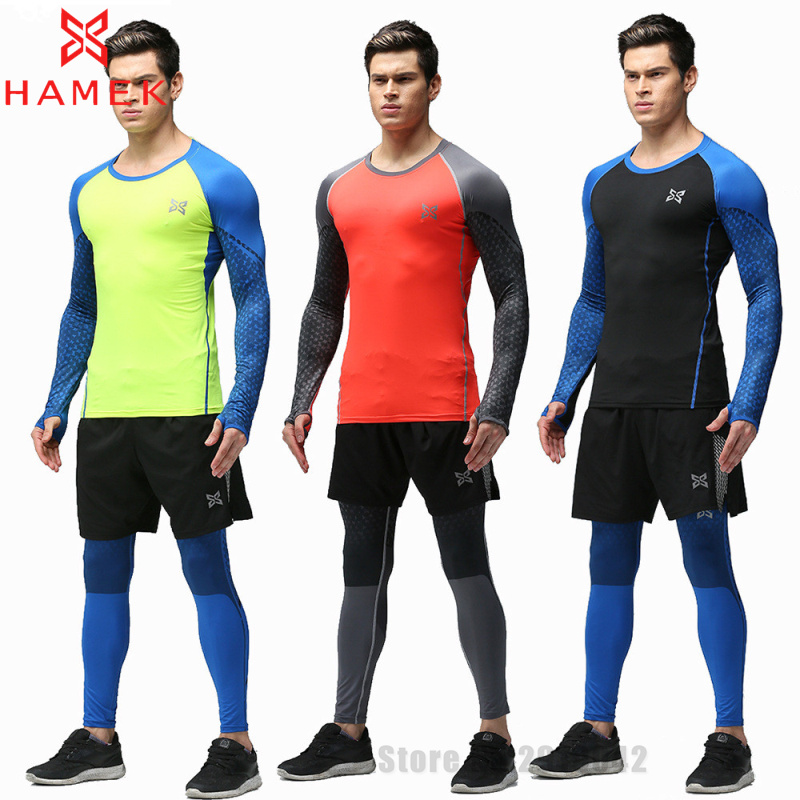 new 3 pieces running clothes mens compression sets pants and shirt polyest  crossfit fitness TOBERUF