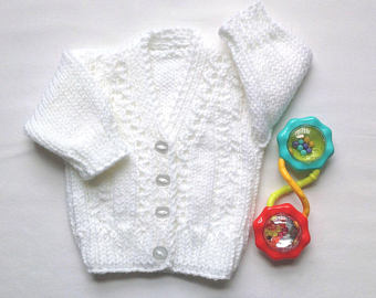 newborn size - baby jacket - white baby sweater - knitted baby clothes - PKFXXPX
