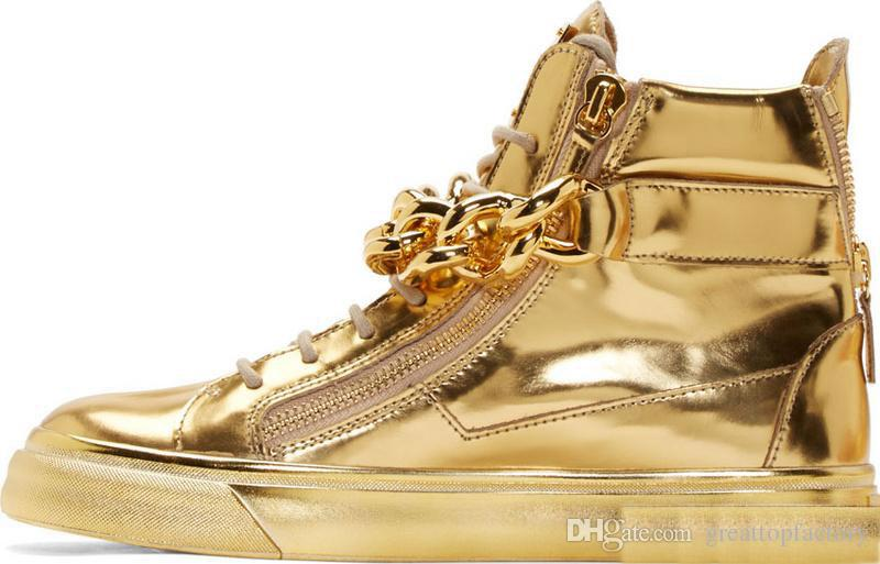 newest men wedge gold sneakers high top zipper lace up sneakers casual shoes  with FNMCYRG