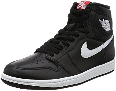 nike air jordan nike kids air jordan 1 retro high og bg black/white/red 575441- JYOLENS