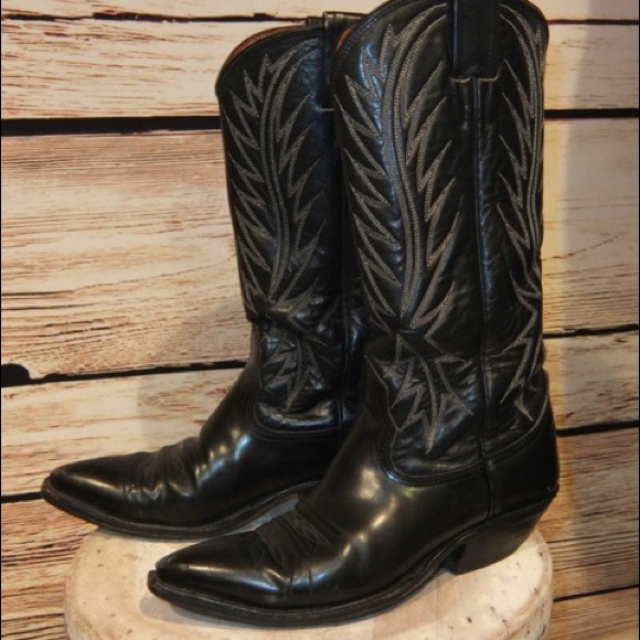 nocona boots nocona shoes - womens vintage nocona black leather cowboy boots 5 WWETYXJ