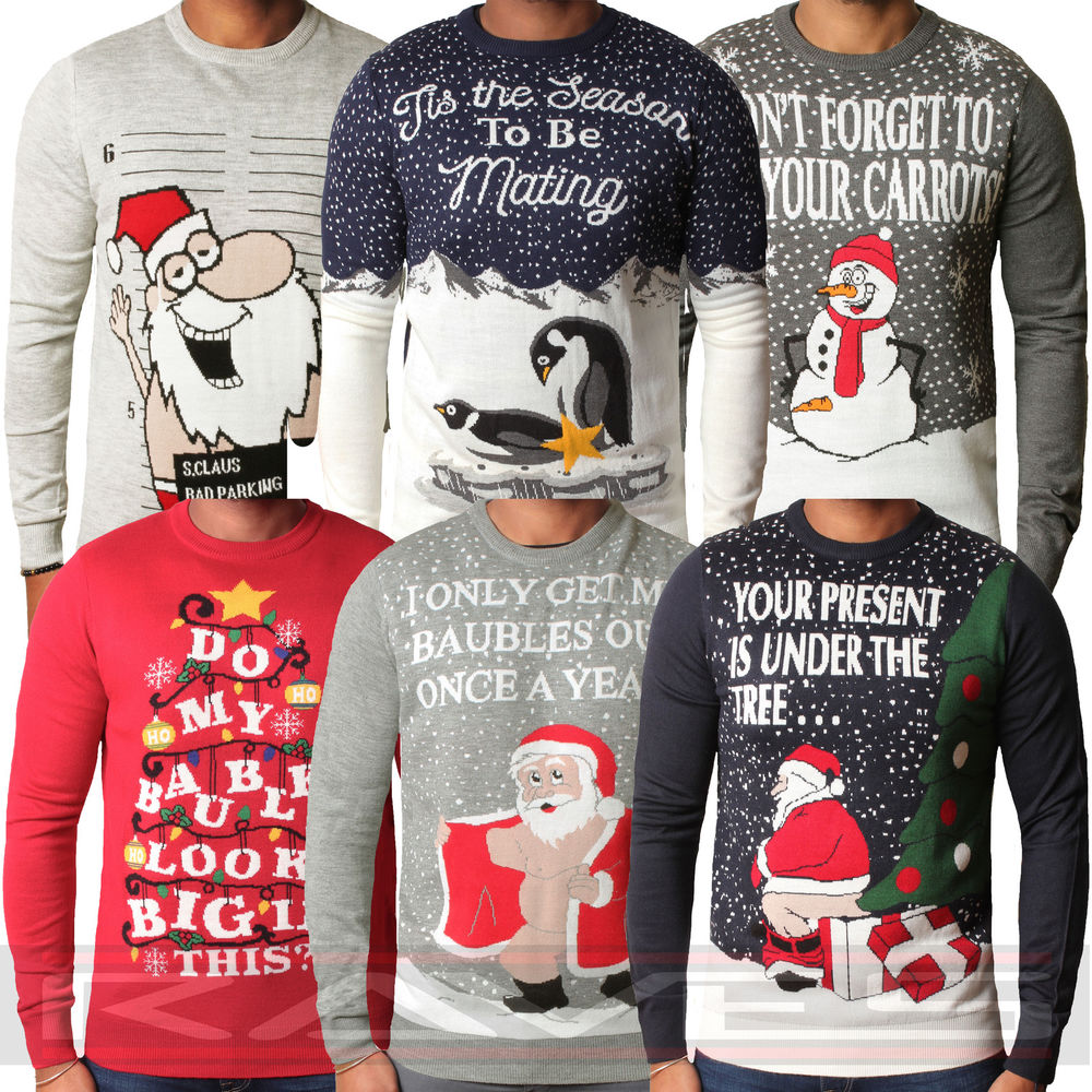 novelty christmas jumpers mens christmas jumper xmas novelty knitwear sweater santa elf snowman  threadbare | ebay PIGTYQI
