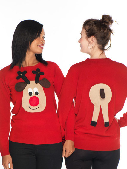 novelty christmas jumpers novelty christmas jumper front u0026 back rudolph - ladiesu0027 10-22 EVCIJWU