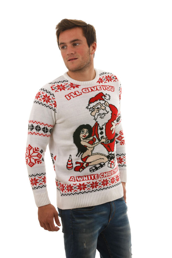 novelty christmas jumpers ugly u0027white christmasu0027 sweater for men - front view AFAQKYQ