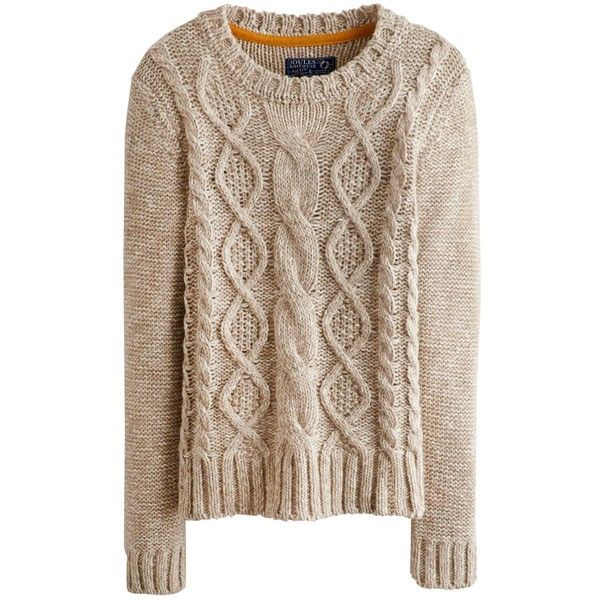 oatmeal marl avelyn womens round neck cable knit jumper | joules uk found  on UZAMLFW