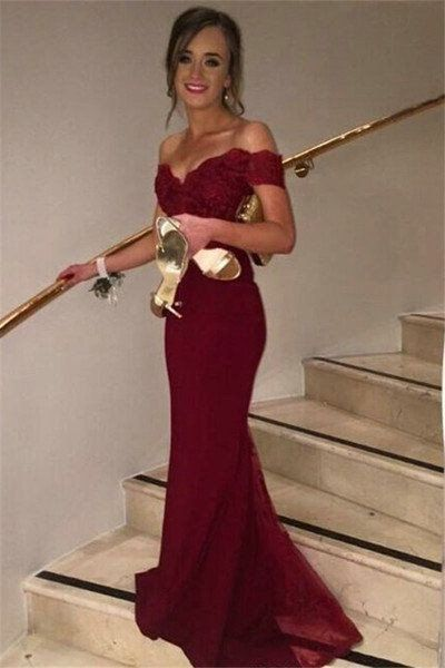 off shoulder red prom dresses, long mermaid prom dresses, sexy bridesmaid  dresses, 2017 bridesmaid RHNBOXJ