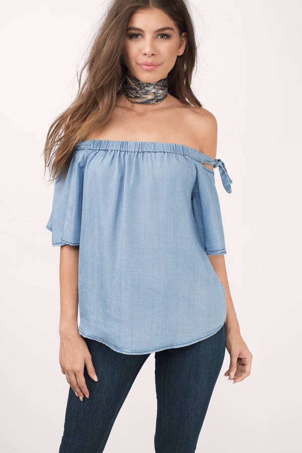 off the shoulder top look back black blouse QESXOLR