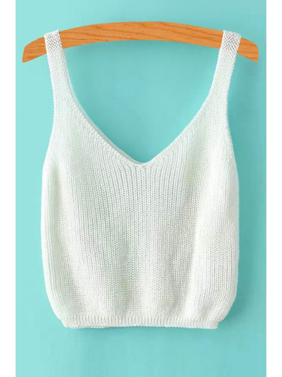 outfits ribbed sleeveless knitted tank top - white one size(fit size xs to m NSZIMWC