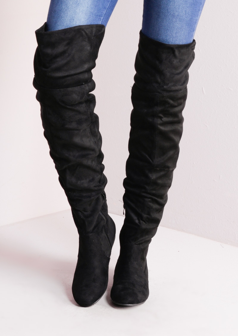 over the knee flat long boots suede black EAFHUFY